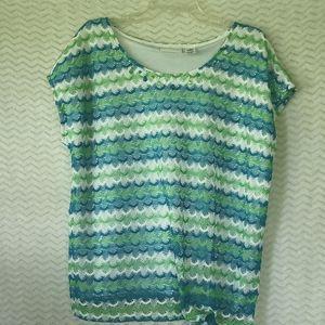 Alfred Dunner short sleeve crochet look top w/ tie
